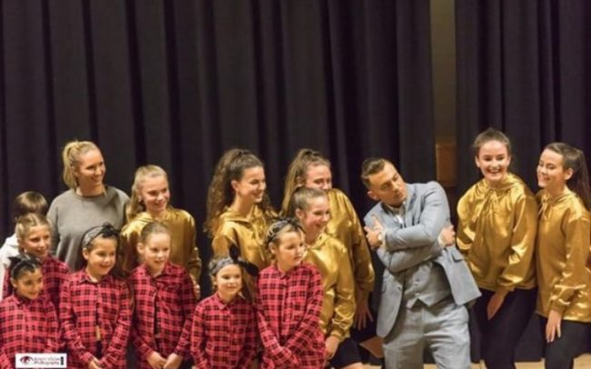 Paul Danan with dancers on stage at the Essex TV Awards